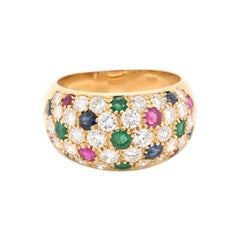 18 Karat Yellow Gold Emerald, Ruby, Sapphire, and Diamond Pave Ring