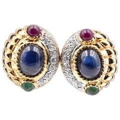 18 Karat Yellow Gold Emerald, Sapphire, Ruby, and Diamond Earrings