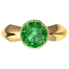 18 Karat Yellow Gold Emerald Sculpture Ring