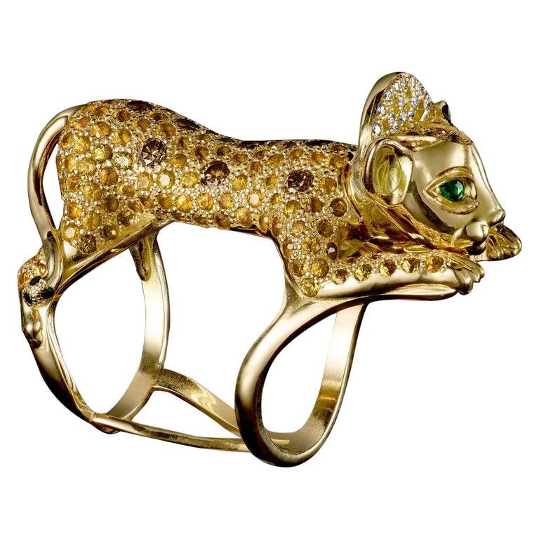 18 Karat Yellow Gold Emeralds Diamonds Cognac Brilliant Pave Cocktail Ring Lion For Sale