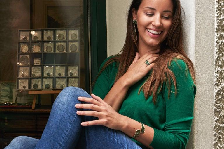 Modern 18 Karat Yellow Gold Emeralds Tsavorites Bangle Aenea Jewellery For Sale