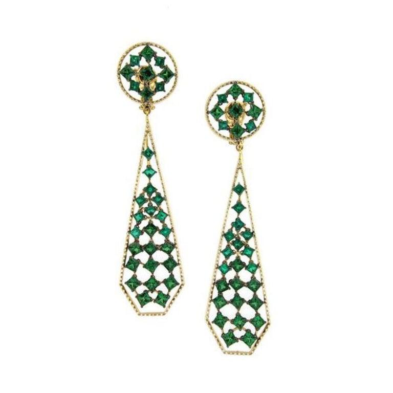 18 Karat Yellow Gold Emeralds Tsavorites Bangle Aenea Jewellery In Excellent Condition For Sale In Salzburg, AT
