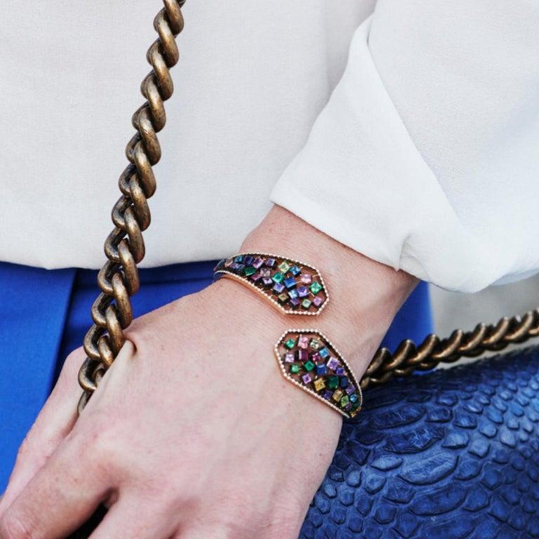 Women's 18 Karat Yellow Gold Emeralds Tsavorites Bangle Aenea Jewellery For Sale