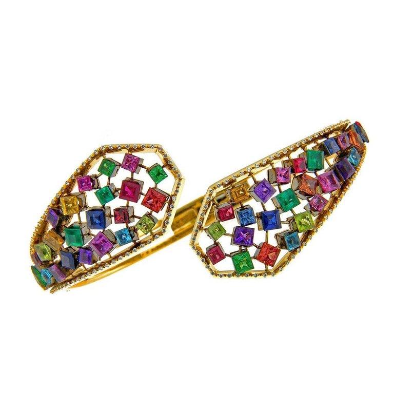 18 Karat Yellow Gold Emeralds Tsavorites Bangle Aenea Jewellery For Sale 1