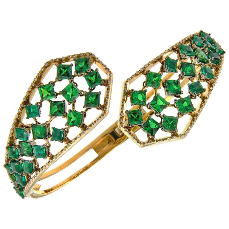 18 Karat Yellow Gold Emeralds Tsavorites Bangle Aenea Jewellery For Sale