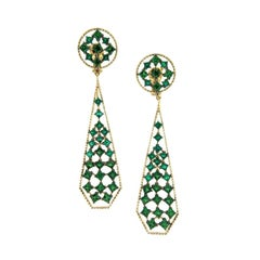 18 Karat Yellow Gold Emeralds Tsavorites Earrings Aenea Jewellery