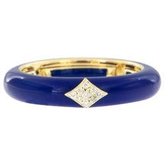 18 Karat Yellow Gold Enamel and Diamond Adjustable Ring Made in Italy
