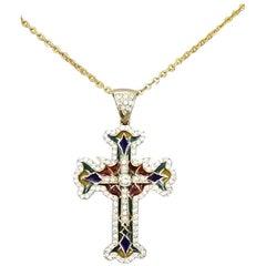 18 Karat Yellow Gold Enamel and Diamond Cross