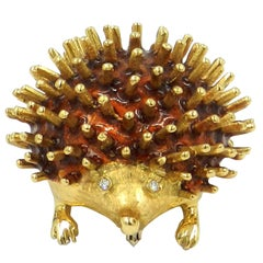 18 Karat Yellow Gold Enamel, Diamond Eyes Porcupine Brooch