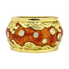 18 Karat Yellow Gold Enamel Diamond Wave Dome Band Ring