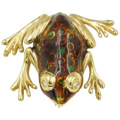 18 Karat Yellow Gold Enamel Frog Brooch