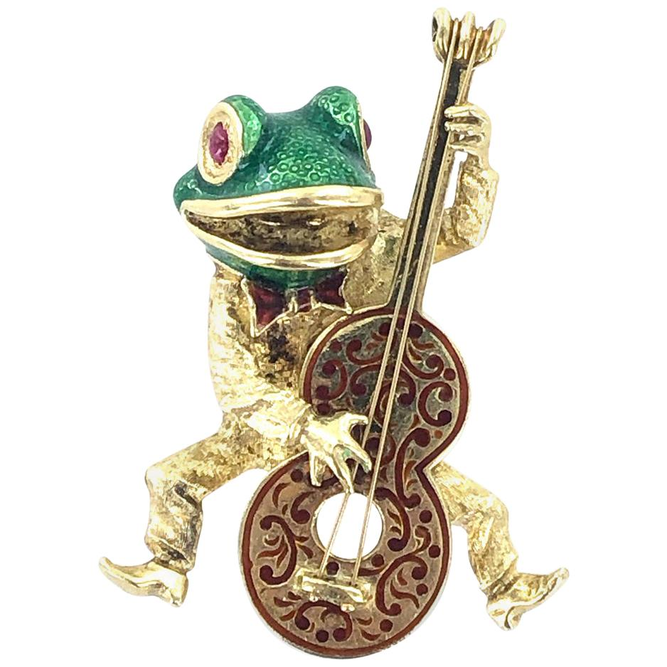 18 Karat Yellow Gold Enamel Frog Vintage Pin Brooch Signed Cooper