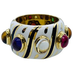 18 Karat Yellow Gold Enamel Multi-Colored Gemstone Band Ring