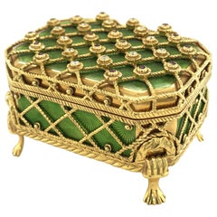 18 Karat Yellow Gold Enamel Pill Box by Victor Mayer for Fabergé
