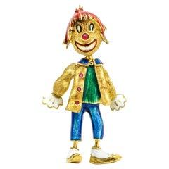 18 Karat Yellow Gold Enamel Ruby Boy Bobble Head Brooch