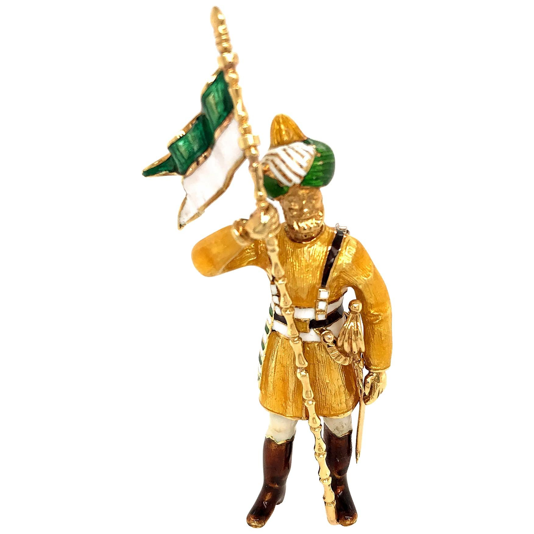 18 Karat Yellow Gold Enamel Soldier Brooch