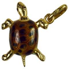 18 Karat Yellow Gold Enamel Turtle Tortoise Charm Pendant