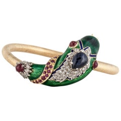 18 Karat Yellow Gold Enameled Snake Bangle with Gemstones