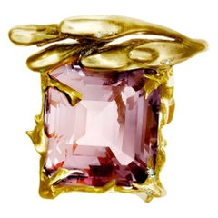 18 Karat Yellow Gold Engagement Ring by Artist with Kunzite and Diamonds