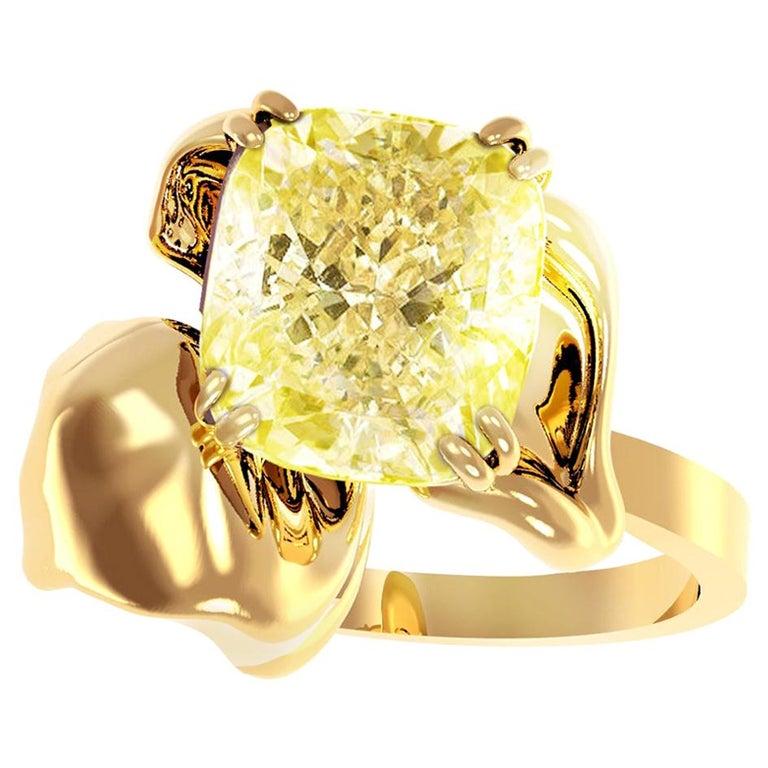 18 Karat Yellow Gold Engagement Ring with 1 Carat Yellow Cushion Diamond For Sale