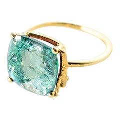 18 Karat Yellow Gold Engagement Ring with 4.35 Carat Neon Paraiba Tourmaline