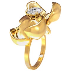 18 Karat Yellow Gold Engagement Ring with GIA Certified 1 Carat Diamond