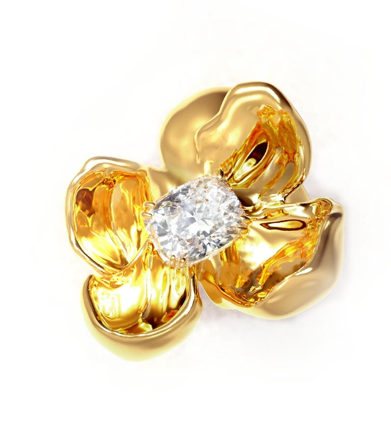 Artist 18 Karat Yellow Gold Engagement Ring with GIA Certified 2.4 Carat Diamond For Sale