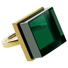 18 Karat Yellow Gold Ring with Green Quartz, Featured in Vogue