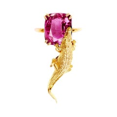 18 Karat Yellow Gold Engagement Ring with GRS Cert. 3.64 Cts. Pink Spinel
