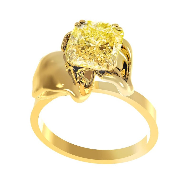 Contemporary 18 Karat Yellow Gold Engagement Ring with Yellow Cushion Diamond For Sale