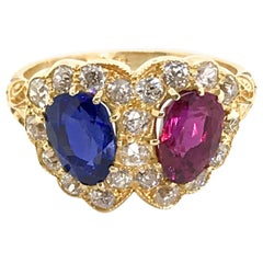 18 Karat Yellow Gold English Ruby, Sapphire and Diamond Double Heart Ring