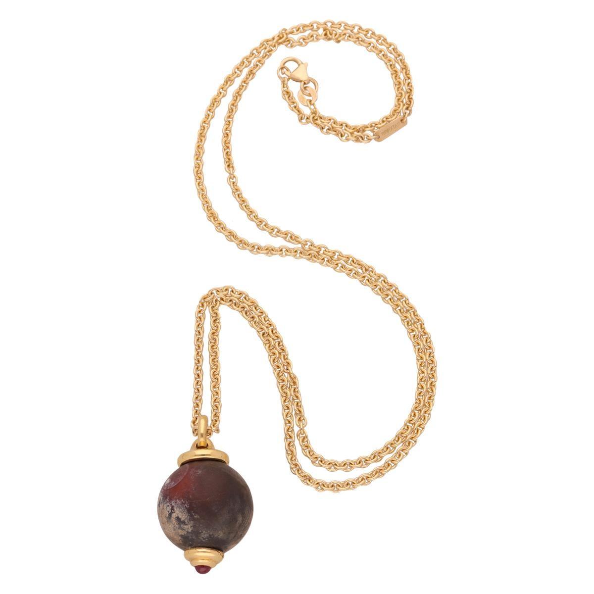 18 Karat Yellow Gold Engraved Chalcedony Cabochon Ruby Bulgari Necklace
