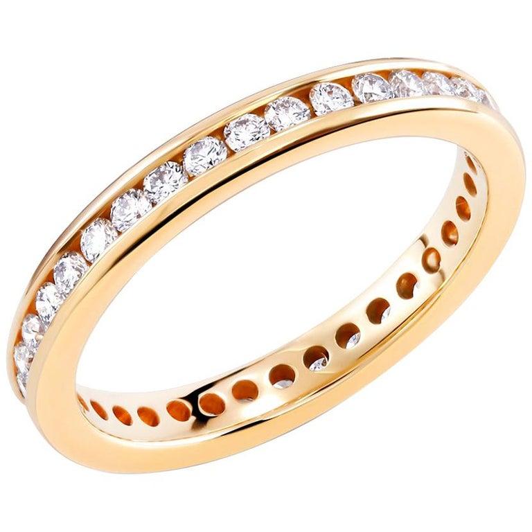 Etincelle Bands: 18 Karat Yellow Gold Eternity Diamond Wedding Band