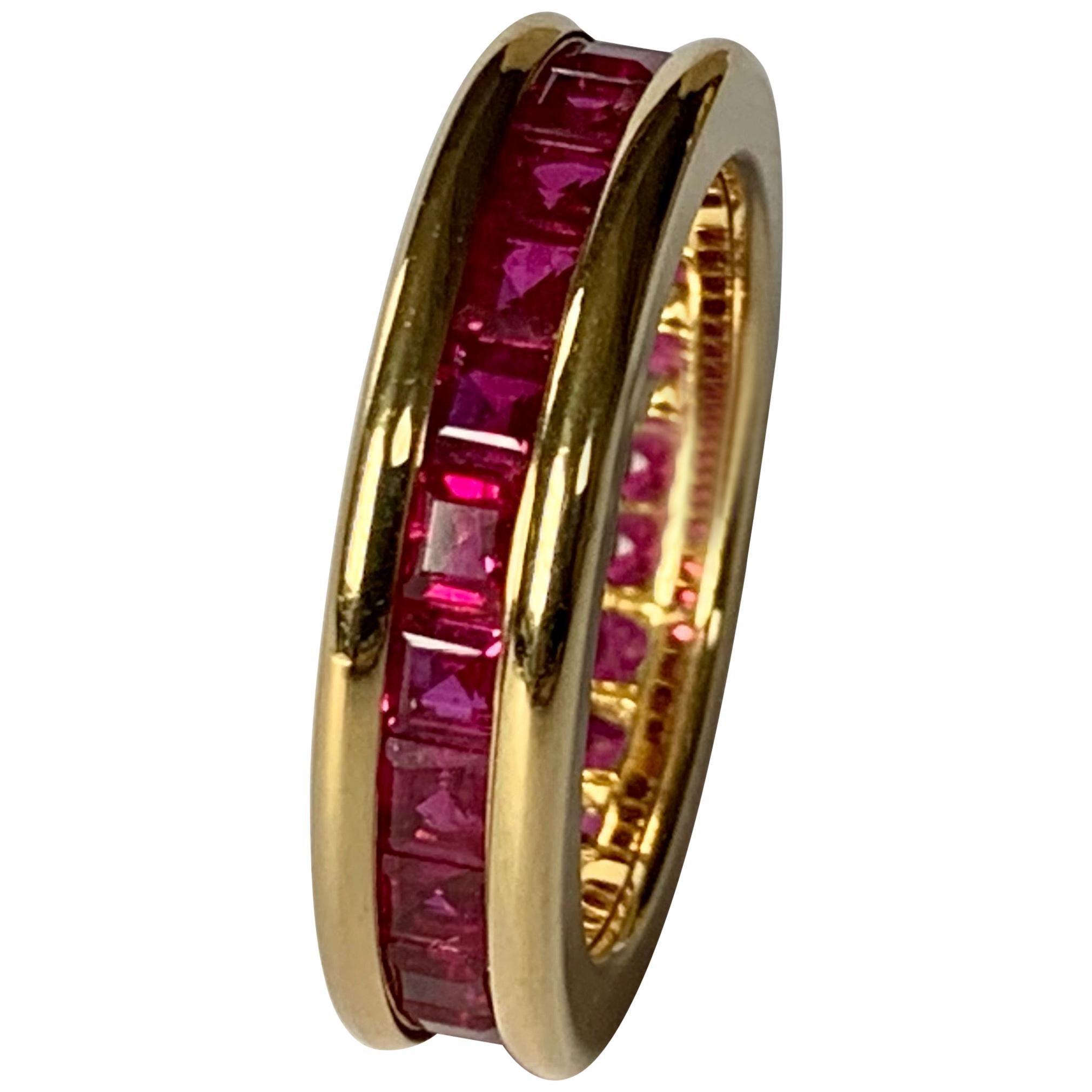 18 Karat Yellow Gold Eternity Ring Ruby