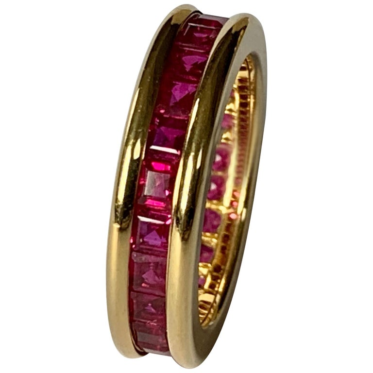 18 Karat Yellow Gold Eternity Ring Ruby For Sale