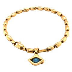 18 Karat Yellow Gold Evil Eye Charm Bracelet