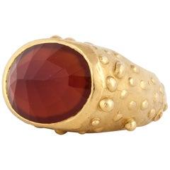 18 Karat Yellow Gold Faceted Carnelian Ring