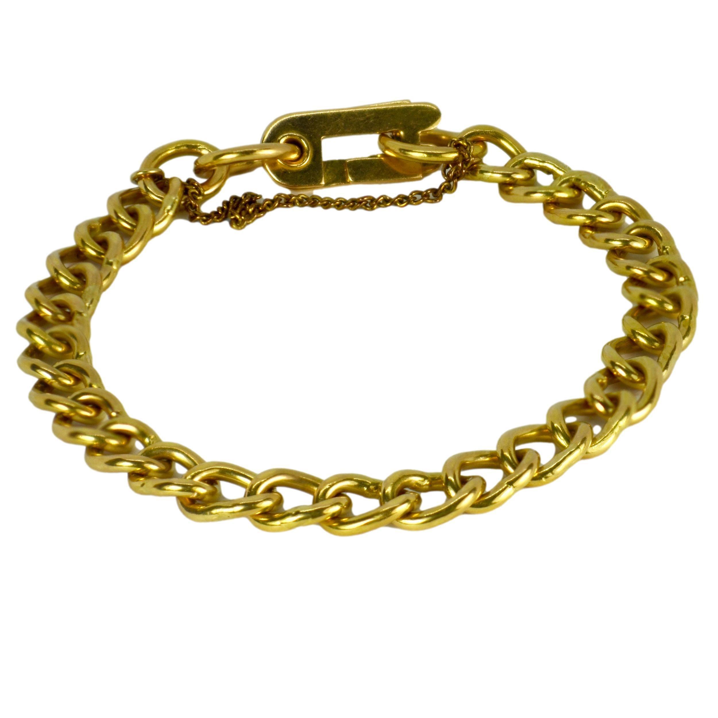 18 Karat Yellow Gold Faceted Curb Link Bracelet