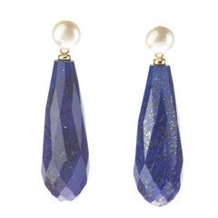 18 Karat Yellow Gold Faceted Lapis Lazuli Tear Drop Cocktail Italian Earrings