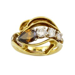 18 Karat Yellow Gold Fancy Cognac Diamond Cocktail Ring