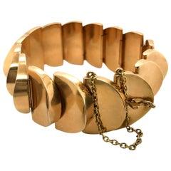 18 Karat Yellow Gold Fancy Link Semi Circle Bracelet