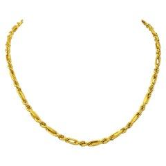 18 Karat Yellow Gold Fancy Modified Rope UnoAErre Chain Necklace