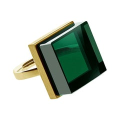 18 Karat Yellow Gold Fashion Ring with Green Quartz, Featured in Vogue