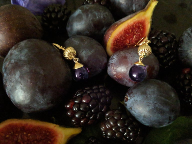 18 Karat yellow gold Fig Fruits cocktail earrings with the cabochon amethysts drops, which are open for the light to go through. These earrings by the artist were featured in Vogue UA review.   The sweet idea of a favourite fruit together with