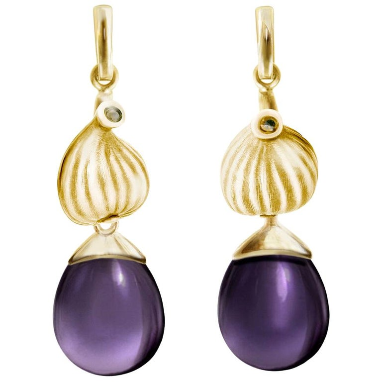 18 Karat Yellow Gold Fig Fruits Cocktail Earrings with Amethysts by the Artist For Sale