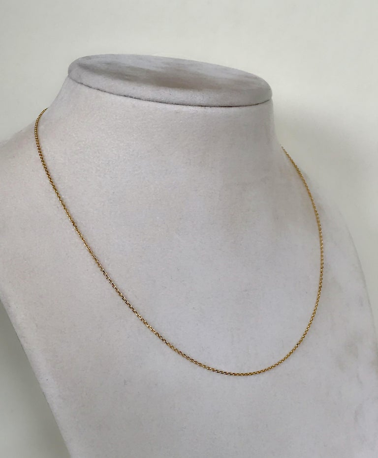 18 Karat Yellow Gold Fine Link Chain Necklace In New Condition For Sale In London, GB