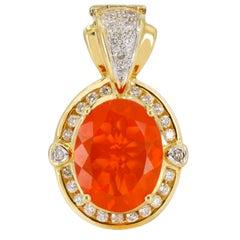 18 Karat Yellow Gold Fire Opal Diamond Pendant Enhancer