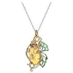 18 Karat Yellow Gold Fire Opal, Green Garnet and Diamond Pendant Brooch