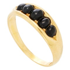 18 Karat Yellow Gold Five-Stone Jet Ring