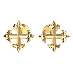 18 Karat Yellow Gold Fleur de Lis Cross Cuff Links